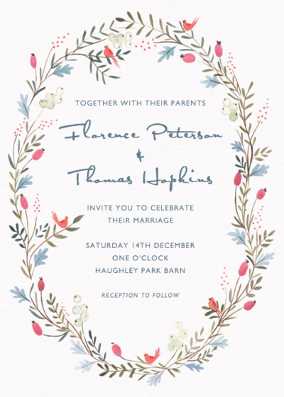Winter Garland | Personalised Wedding Invitation