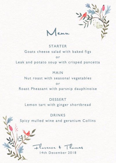 Winter Garland | Personalised Menu