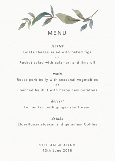 Foliage | Personalised Menu