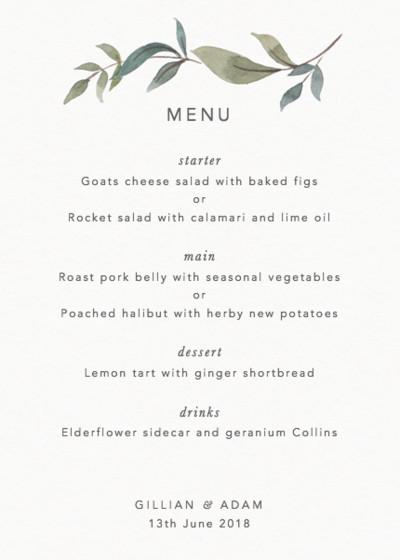 Foliage menu papier junglespirit Choice Image