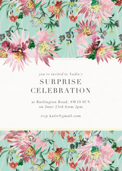 Jungle Bloom   Personalised Party Invitation