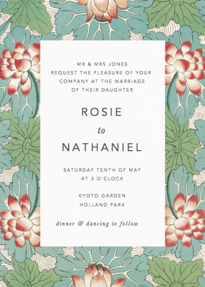 Chinese Red Water Lily | Personalised Wedding Invitation