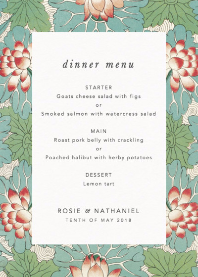 Chinese Red Water Lily | Personalised Menu