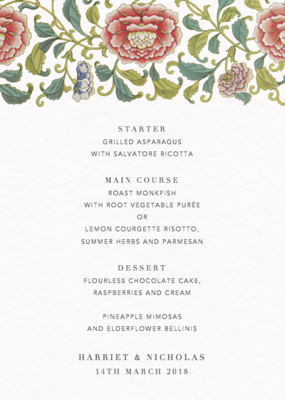 Chinese Florals | Personalised Menu