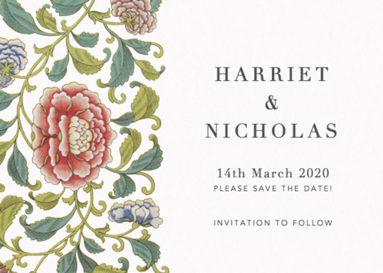 Chinese Florals | Personalised Save The Date