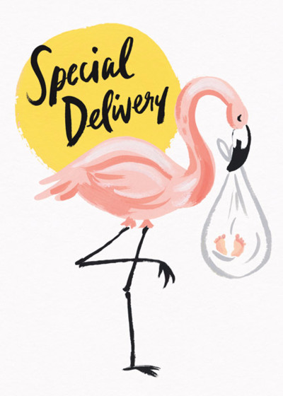Special Delivery Flamingo | Personalised Congratulations Card