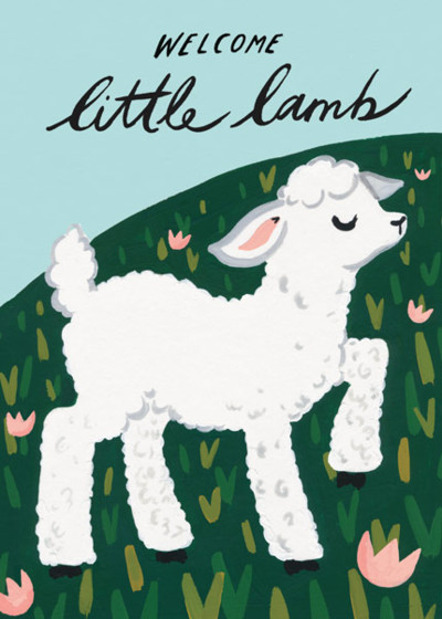 Welcome Little Lamb | Personalised Congratulations Card