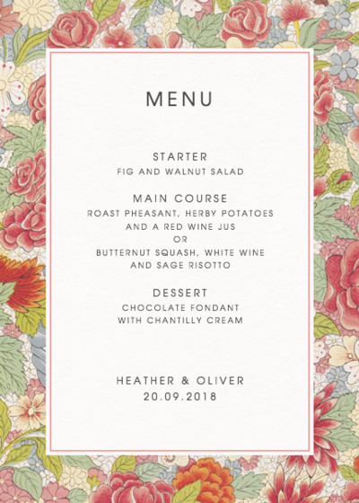 Chinese Red Roses | Personalised Menu