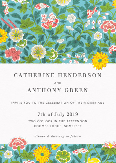 Chinese Wild Flowers | Personalised Wedding Invitation