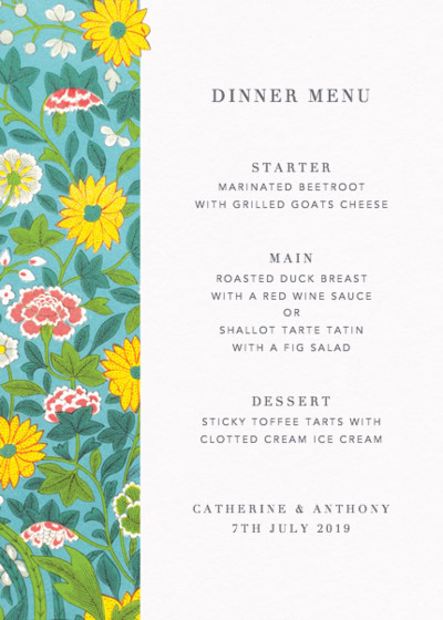 Chinese Wild Flowers | Personalised Menu