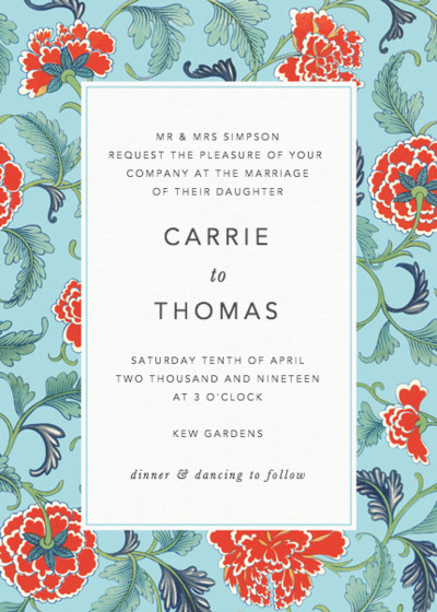 Chinese Red Carnations | Personalised Wedding Invitation