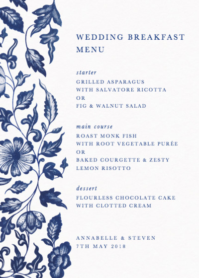 Chinese Floral Porcelain | Personalised Menu