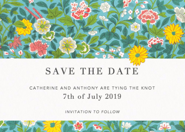 Chinese Wild Flowers | Personalised Save The Date