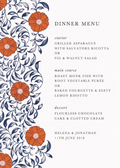 Chinese Red Flowers | Personalised Menu