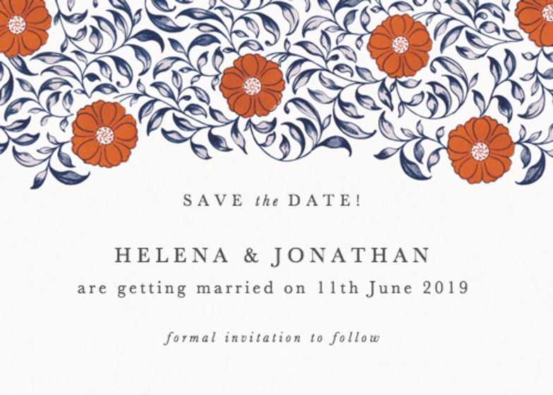 Chinese Red Flowers | Personalised Save The Date