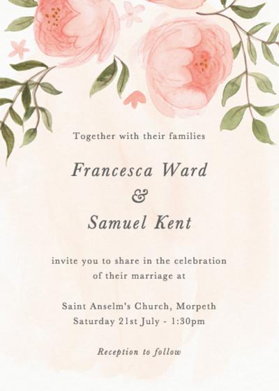 Blooming Peonies | Personalised Wedding Invitation