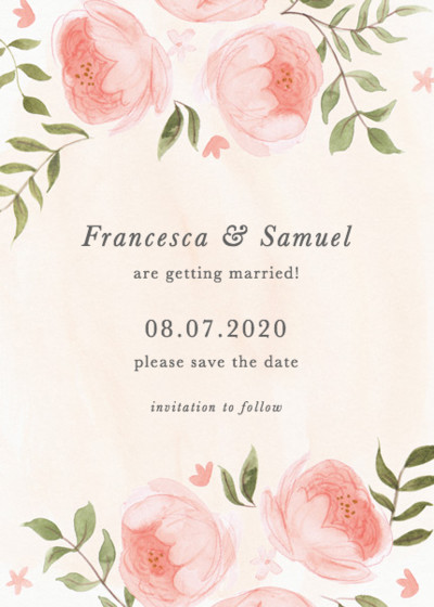 Blooming Peonies | Personalised Save The Date