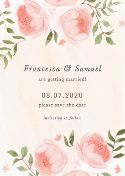 Blooming Peonies | Personalised Save The Date