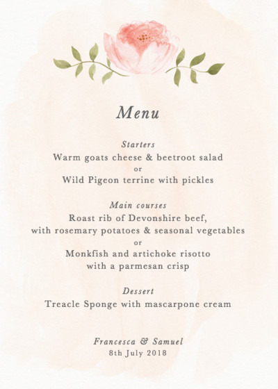Blooming Peonies | Personalised Menu