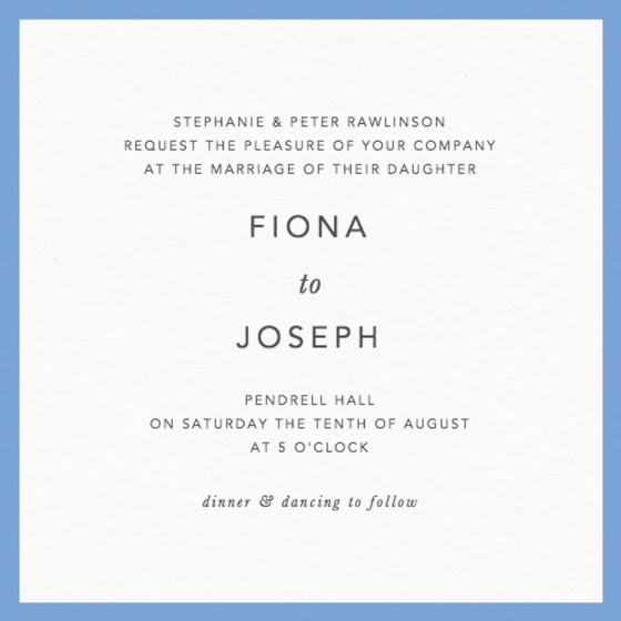 Cornflower Blue Border | Personalised Wedding Invitation