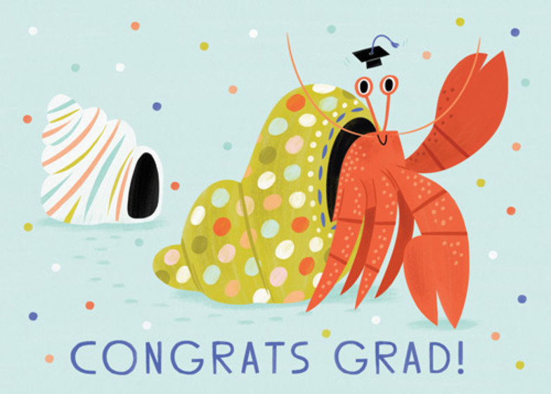 Hermit Crab Grad   Personalised Congratulations Card