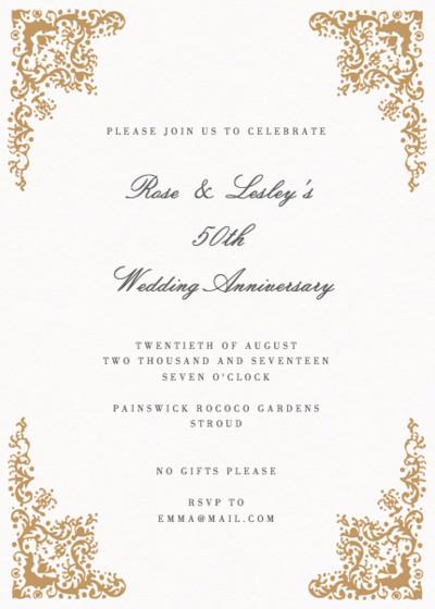Rococo | Personalised Anniversary Invitation