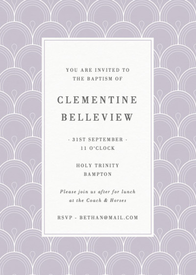 Deco Purple Scallop | Personalised Christening Invitation