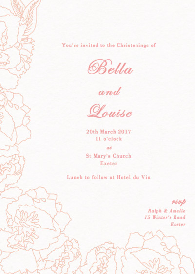 Peonies | Personalised Christening Invitation