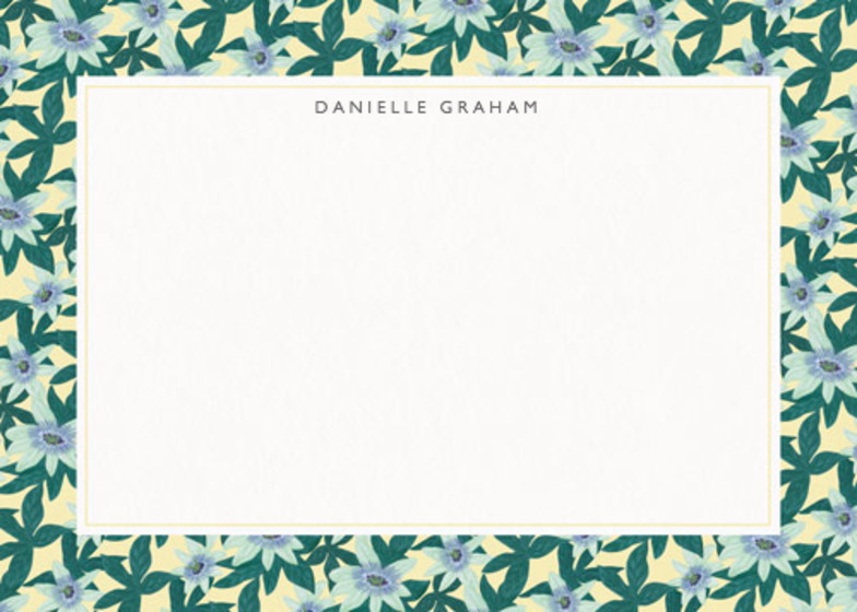 Passion Flower Yellow | Personalised Stationery Set