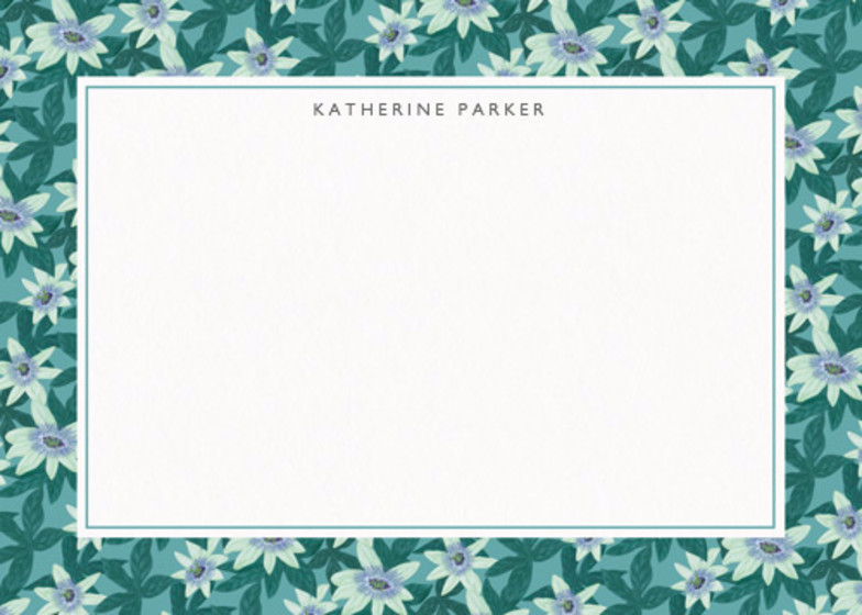 Passion Flower Green | Personalised Stationery Set