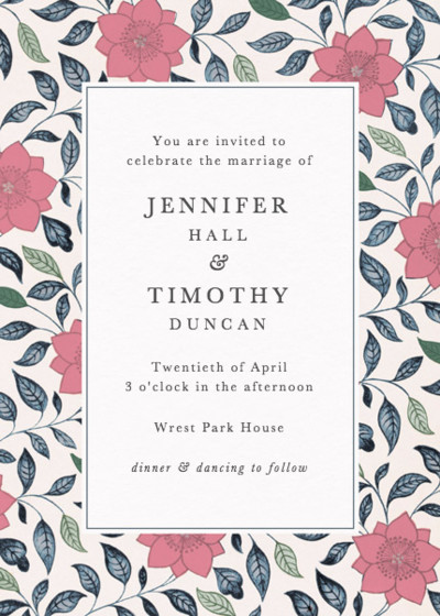 Chinese Pink Lotus | Personalised Wedding Invitation