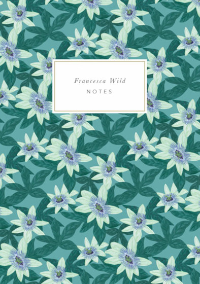 Passion Flower Green | Personalised Lined Notebook