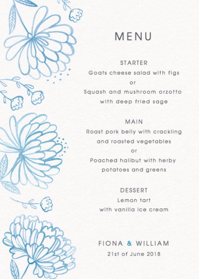 Peony Bouquet | Personalised Menu