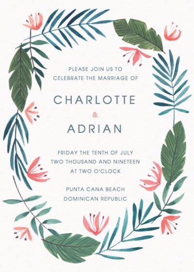 Paradise Florals | Personalised Wedding Invitation