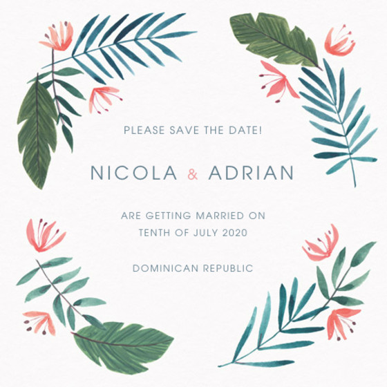 Paradise Florals | Personalised Save The Date