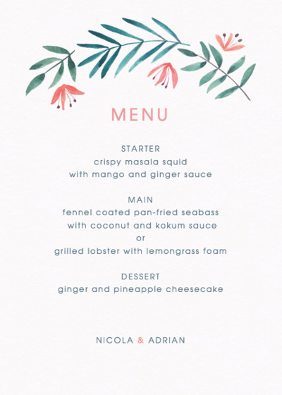 Paradise Florals | Personalised Menu
