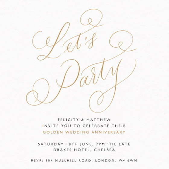 Customisable anniversary party invitations papier lets party gold personalised anniversary invitation stopboris