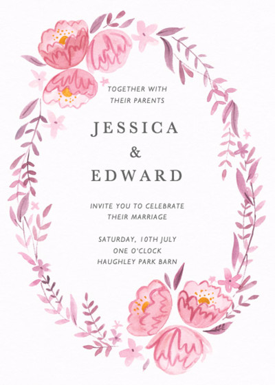 Peony Garland   Personalised Wedding Invitation