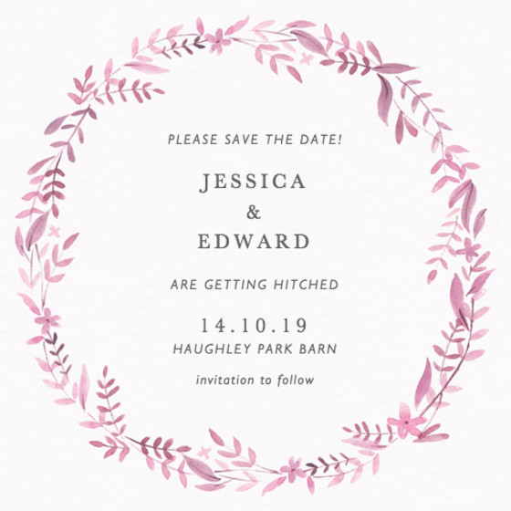 Peony Garland | Personalised Save The Date