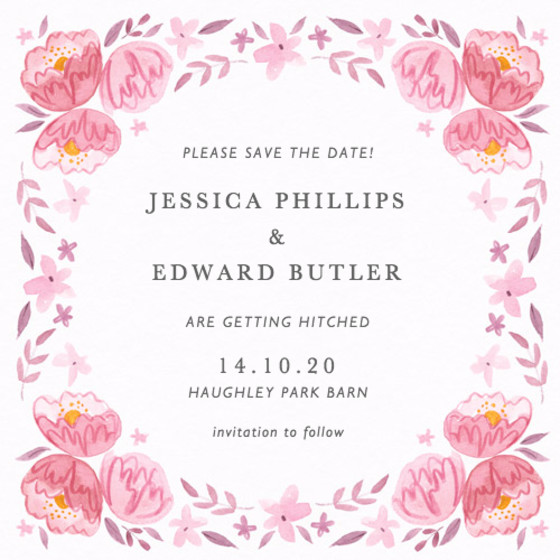 Peony Garland   Personalised Save The Date