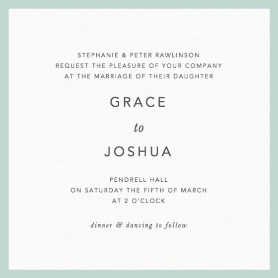 Mint Border | Personalised Wedding Invitation