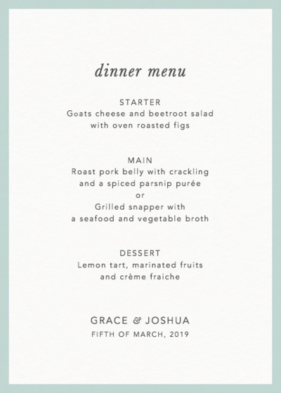 Mint Border | Personalised Menu