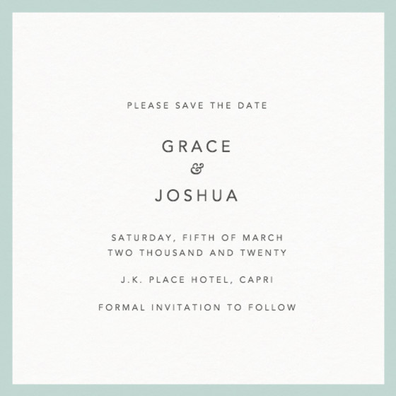 Mint Border | Personalised Save The Date