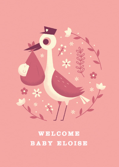 Pink Baby Stork | Personalised Congratulations Card