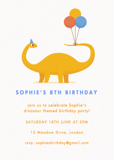 Dinosaur Party | Personalised Party Invitation