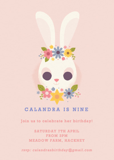 Bunny Birthday | Personalised Party Invitation