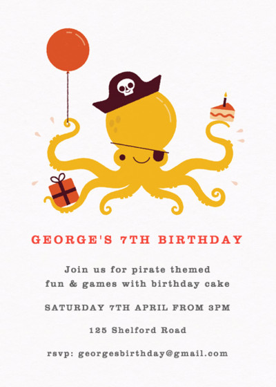 Pirate Octopus Red | Personalised Party Invitation
