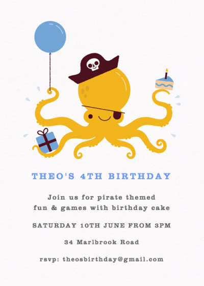 Pirate Octopus Blue | Personalised Party Invitation