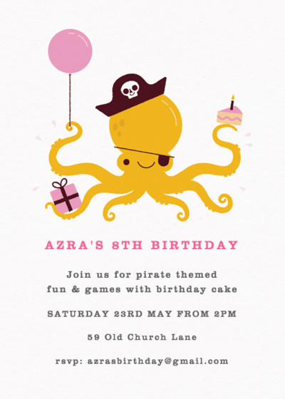 Pirate Octopus Pink | Personalised Party Invitation