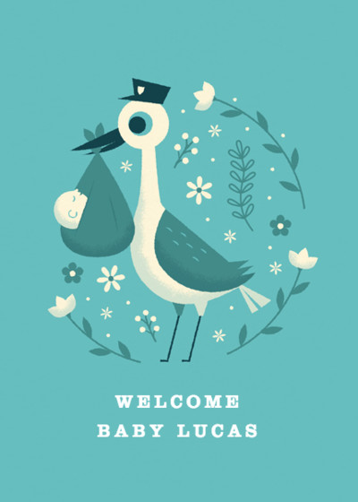 Blue Baby Stork | Personalised Congratulations Card